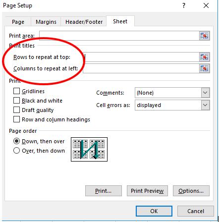 Thủ thuật trình bày bảng tính - Repeat Columns and Rows