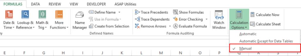 khôi phục file Excel bị lỗi - Turn off Autocalculate