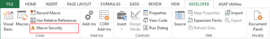 khôi phục file Excel bị lỗi - Macro Secutiry