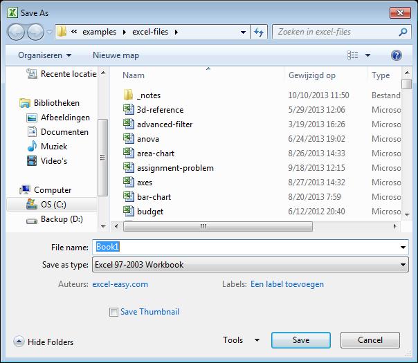 12 phím chức năng trong Excel - F12