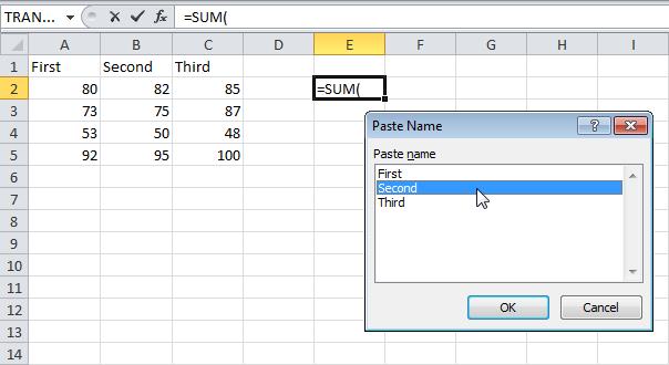 12 phím chức năng trong Excel - F3