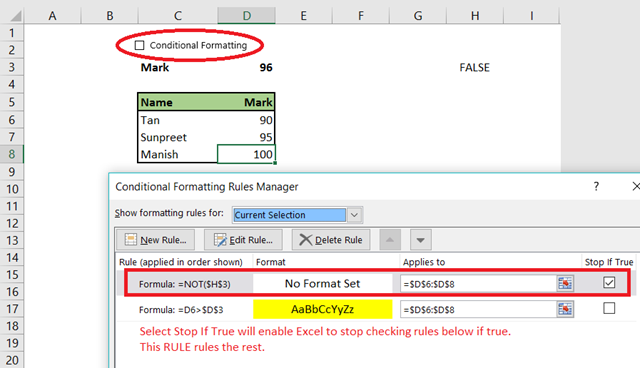Conditional Formatting - Settings