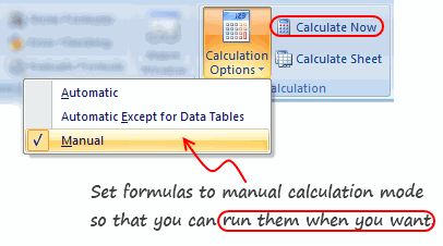 7 công cụ mạnh mẽ nhưng nguy hiểm trong Excel - Automatic and Manual Calculation