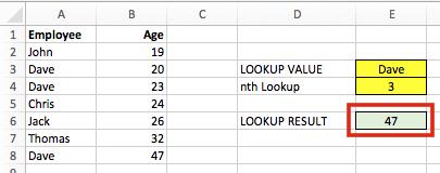 Liệt kê giá trị thứ n thỏa điều kiện - Data Table