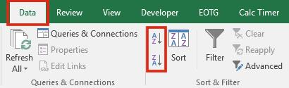Sắp xếp từ trái sang phải trong Excel - Basic Sort