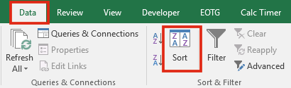 Sắp xếp từ trái sang phải trong Excel - Advanced Sort