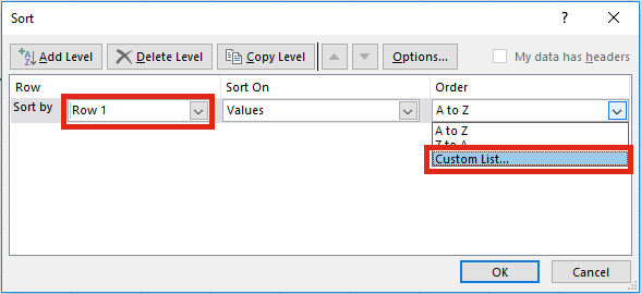 Sắp xếp từ trái sang phải trong Excel - Custom Lists