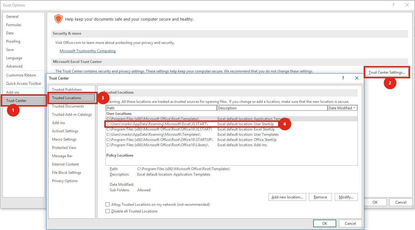 Tự động mở file khi khởi động Excel - Trusted Locations