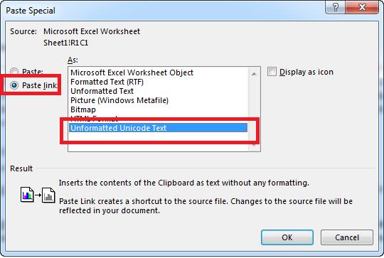 Liên kết file Excel và Word - Paste Special