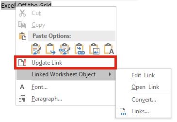 Liên kết file Excel và Word - Update on Demand