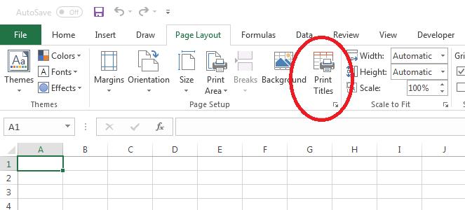 In tiêu đề lặp lại trong Excel - Print Titles