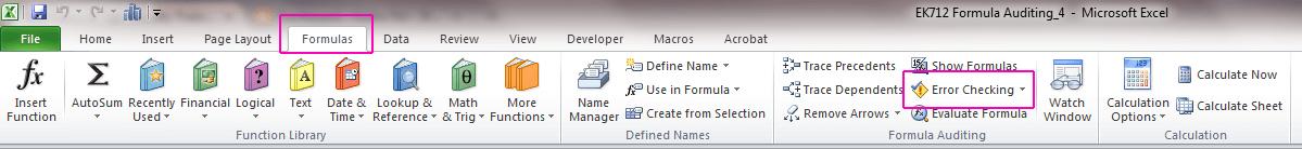 tìm ô bị lỗi trong Excel - Error Checking