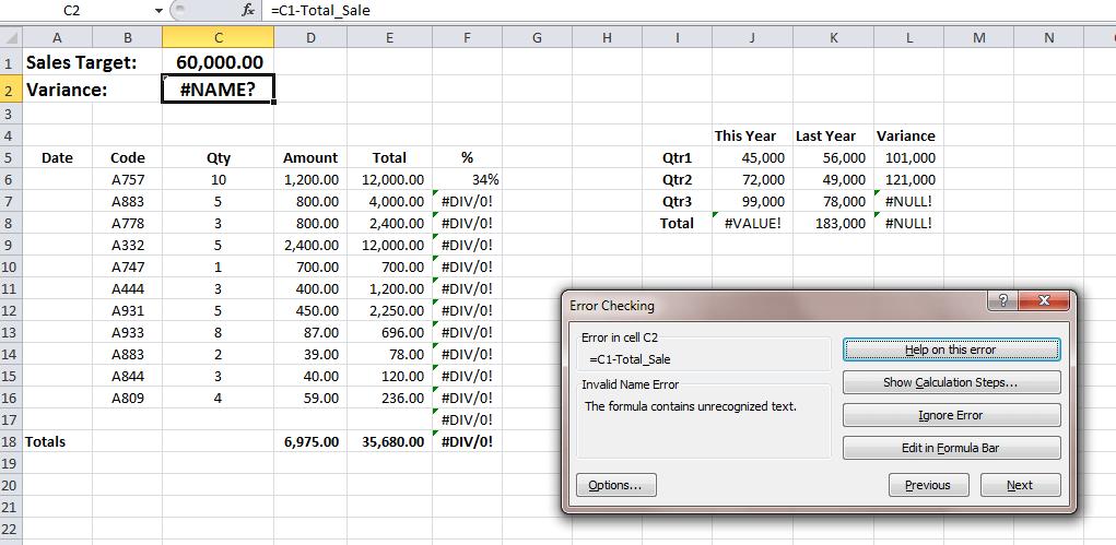 tìm ô bị lỗi trong Excel - Error Checking Window