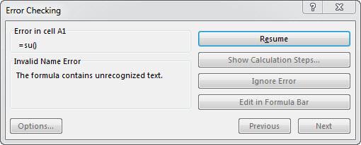tìm ô bị lỗi trong Excel - Error Checking Resume