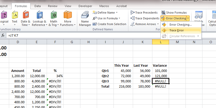 tìm ô bị lỗi trong Excel - Tracing Error