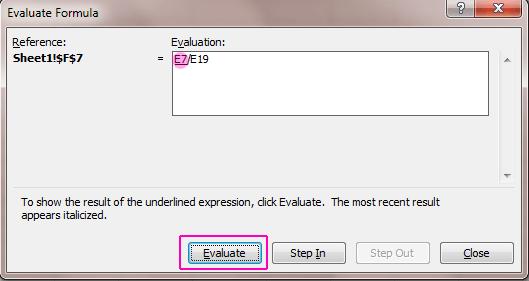 Evaluate Formula Window