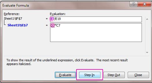 Evaluate Formula - Step In