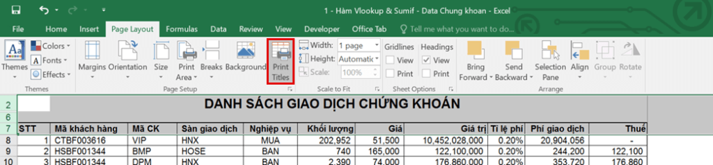 in ấn trong Excel - Print Titles