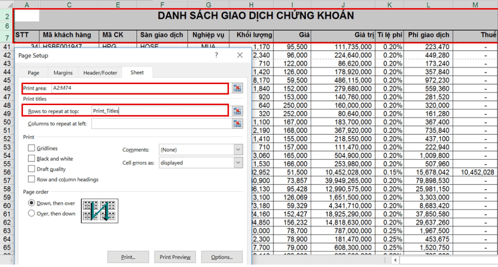 in ấn trong Excel - Page Setup