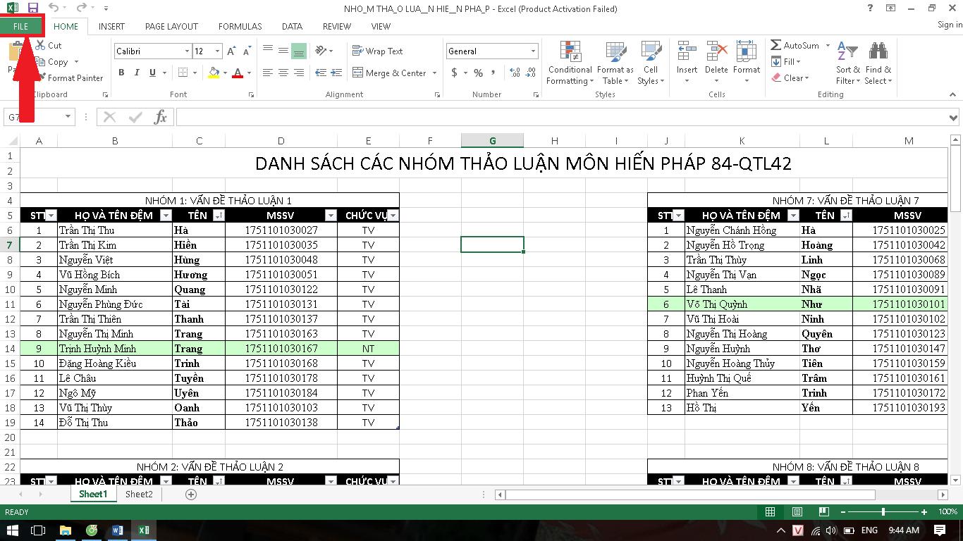Mật khẩu file Excel