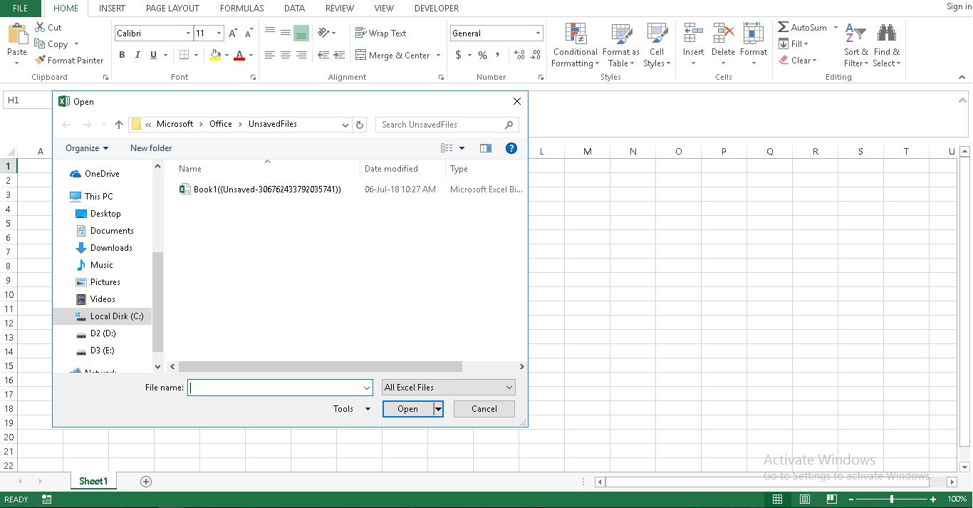 Phục hồi file Excel
