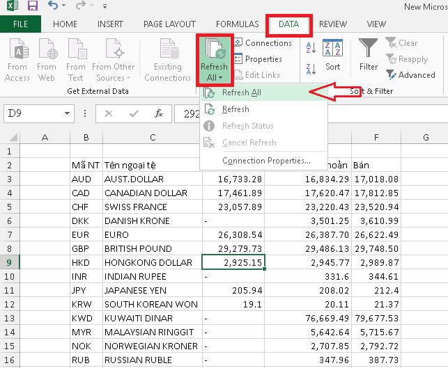 Cập nhật tỷ giá tự động